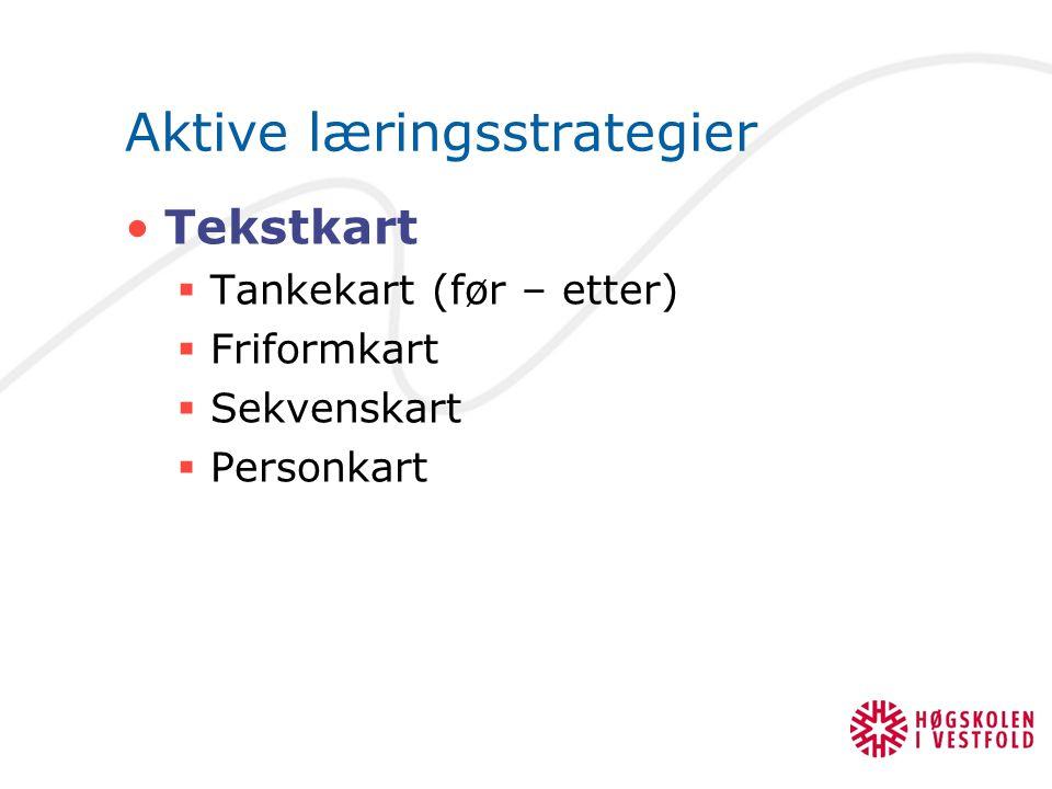 Aktive læringsstrategier Tekstkart  Tankekart (før – etter)  Friformkart  Sekvenskart  Personkart