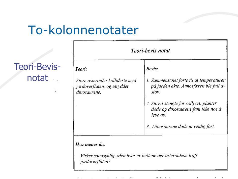 To-kolonnenotater Teori-Bevis- notat