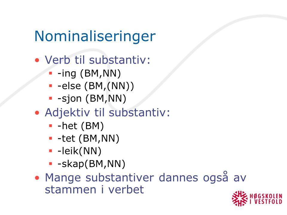 Nominaliseringer Verb til substantiv:  -ing (BM,NN)  -else (BM,(NN))  -sjon (BM,NN) Adjektiv til substantiv:  -het (BM)  -tet (BM,NN)  -leik(NN)  -skap(BM,NN) Mange substantiver dannes også av stammen i verbet