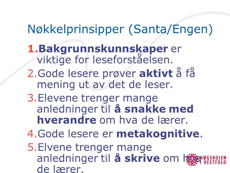 Nøkkelprinsipper (Santa/Engen) 1.Bakgrunnskunnskaper er viktige for leseforståelsen.