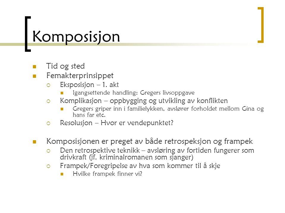 Komposisjon Tid og sted Femakterprinsippet  Eksposisjon – 1. akt Igangsettende handling: Gregers livsoppgave  Komplikasjon – oppbygging og utvikling