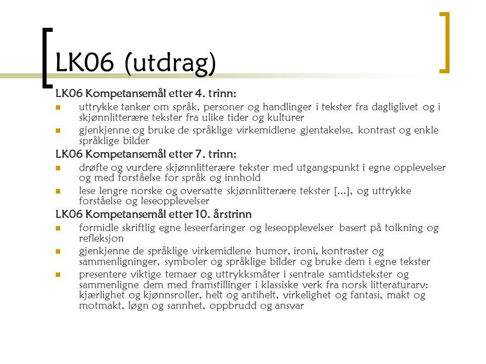 LK06 (utdrag) LK06 Kompetansemål etter 4. trinn: uttrykke tanker om språk, personer og handlinger i tekster fra dagliglivet og i skjønnlitterære tekst
