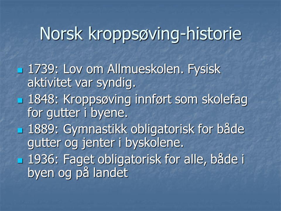 Norsk kroppsøving-historie 1739: Lov om Allmueskolen. Fysisk aktivitet var syndig. 1739: Lov om Allmueskolen. Fysisk aktivitet var syndig. 1848: Kropp