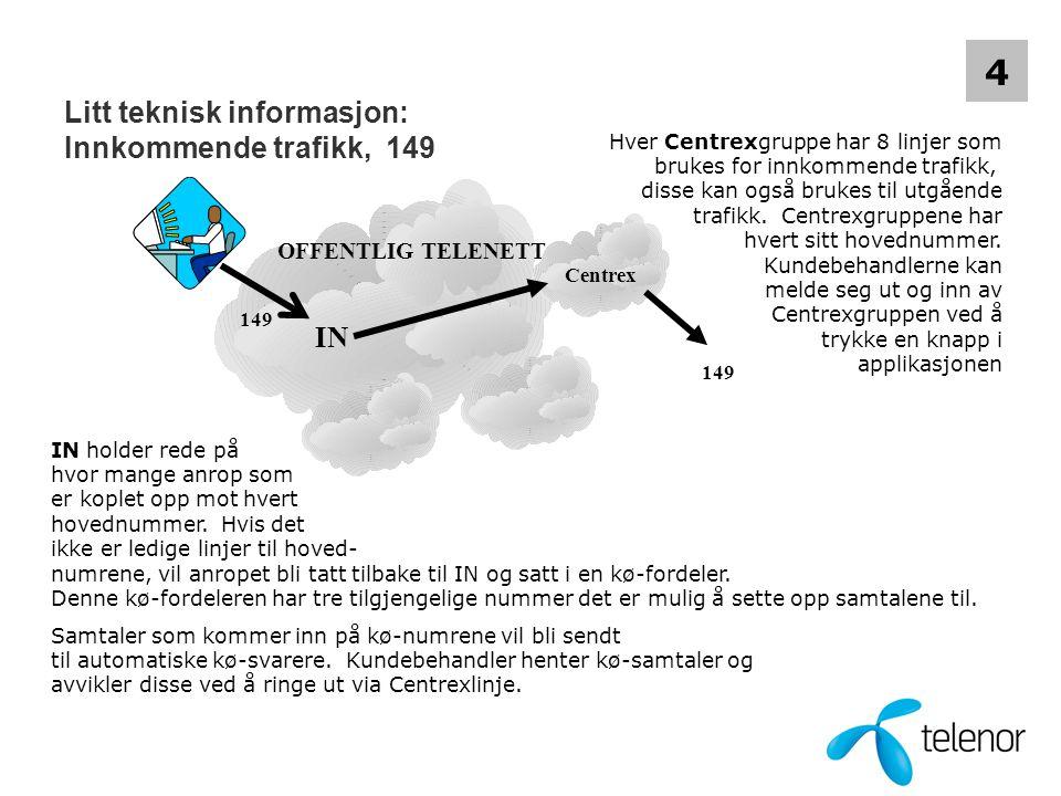 Litt teknisk informasjon: Innkommende trafikk, 149 OFFENTLIG TELENETT IN Hver Centrexgruppe har 8 linjer som brukes for innkommende trafikk, disse kan også brukes til utgående trafikk.