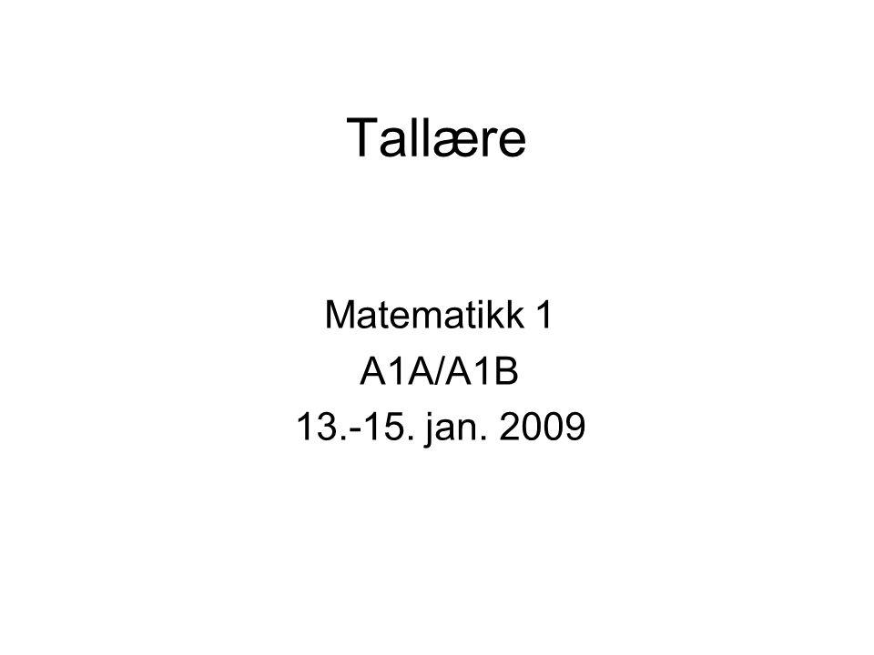 Tallære Matematikk 1 A1A/A1B 13.-15. jan. 2009