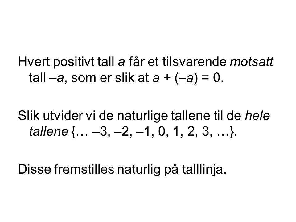 Hvert positivt tall a får et tilsvarende motsatt tall –a, som er slik at a + (–a) = 0. Slik utvider vi de naturlige tallene til de hele tallene {… –3,
