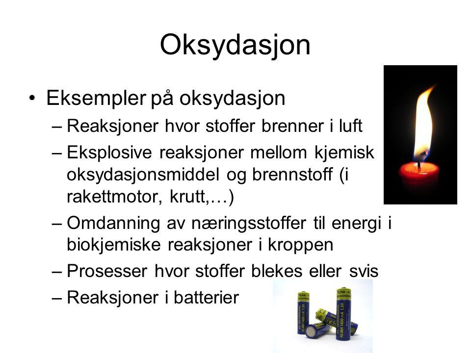 Redoks-reaksjoner er ofte eksoterme (frigjør energi) Kan være sterkt eksoterme (forbrenning) Kan være eksplosive http://en.wikipedia.org/wiki/Messerschmitt_Me_163