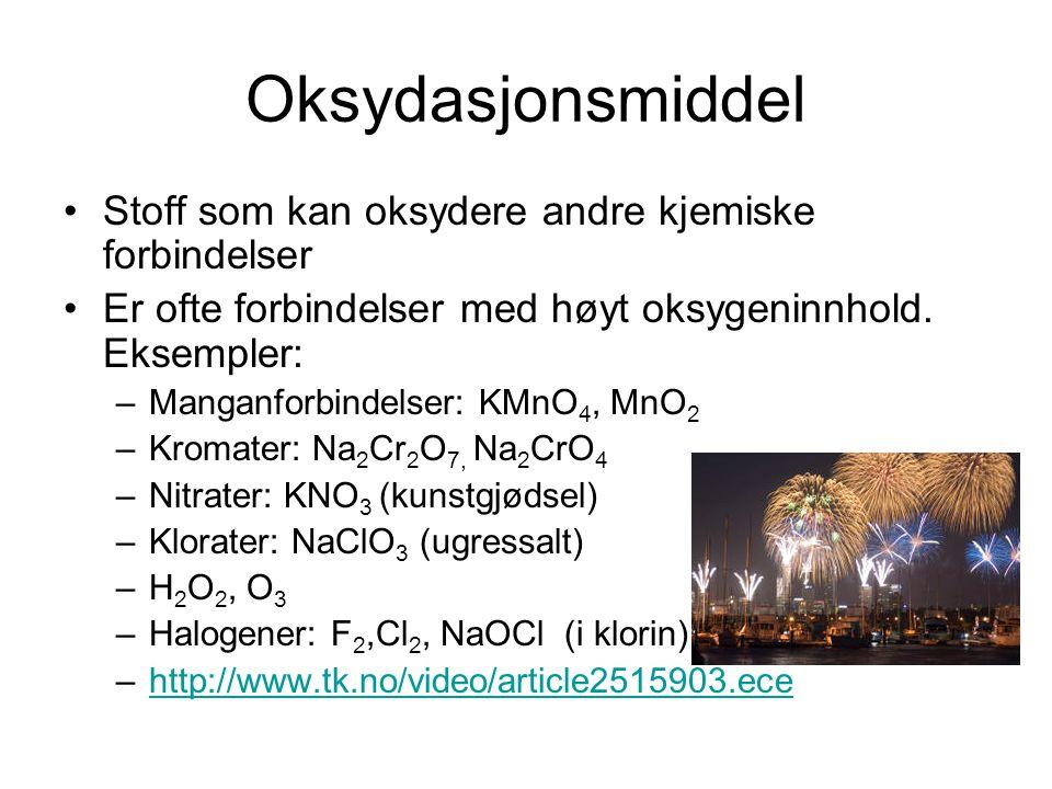 Reduksjonsmiddel Når et oksydasjonsmiddel oksyderer et annet stoff, blir oksydasjonsmidlet selv redusert.