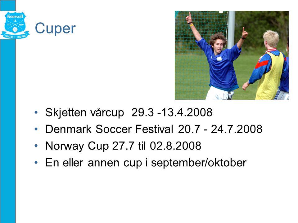 Cuper Skjetten vårcup 29.3 -13.4.2008 Denmark Soccer Festival 20.7 - 24.7.2008 Norway Cup 27.7 til 02.8.2008 En eller annen cup i september/oktober