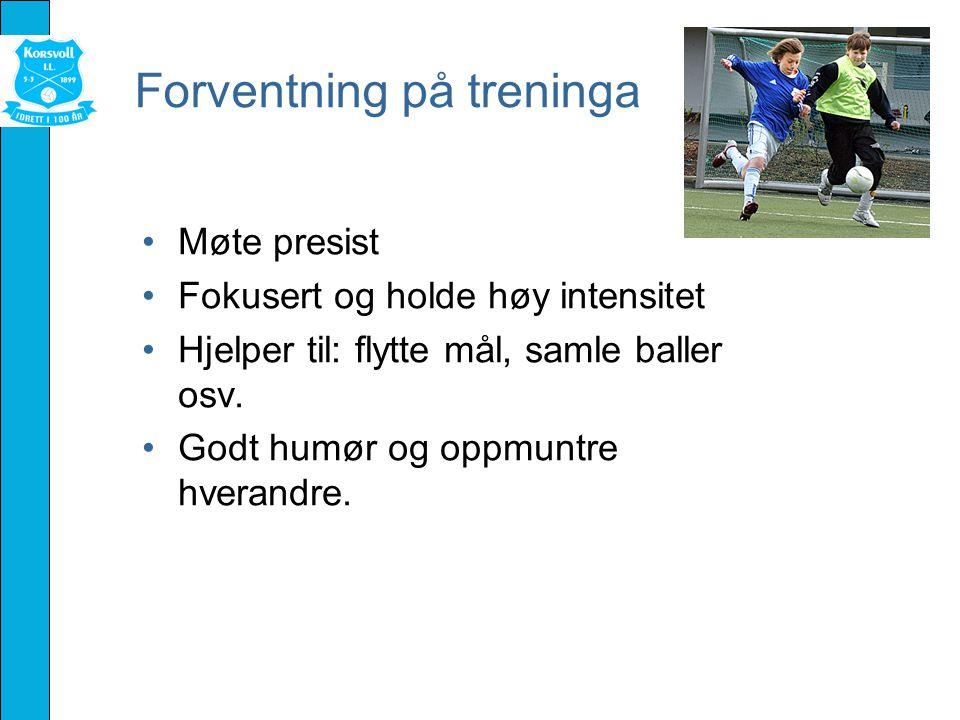 Forventning på treninga Møte presist Fokusert og holde høy intensitet Hjelper til: flytte mål, samle baller osv.