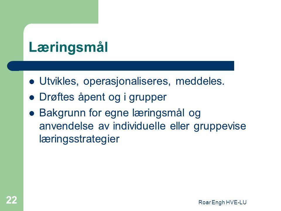 Roar Engh HVE-LU 22 Læringsmål Utvikles, operasjonaliseres, meddeles. Drøftes åpent og i grupper Bakgrunn for egne læringsmål og anvendelse av individ