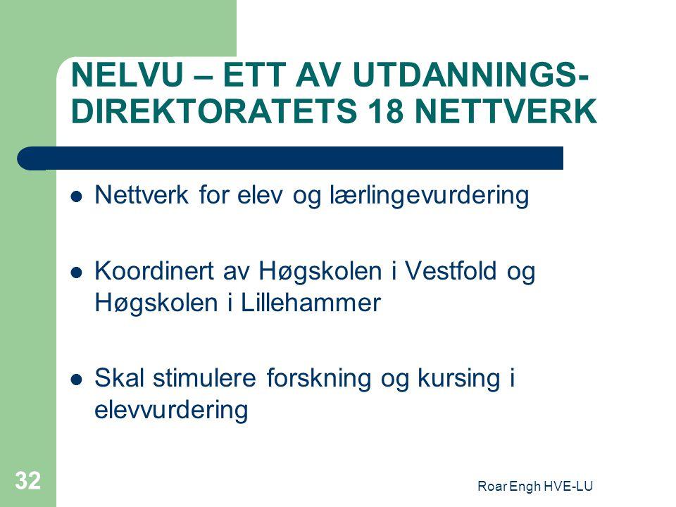 Roar Engh HVE-LU 32 NELVU – ETT AV UTDANNINGS- DIREKTORATETS 18 NETTVERK Nettverk for elev og lærlingevurdering Koordinert av Høgskolen i Vestfold og