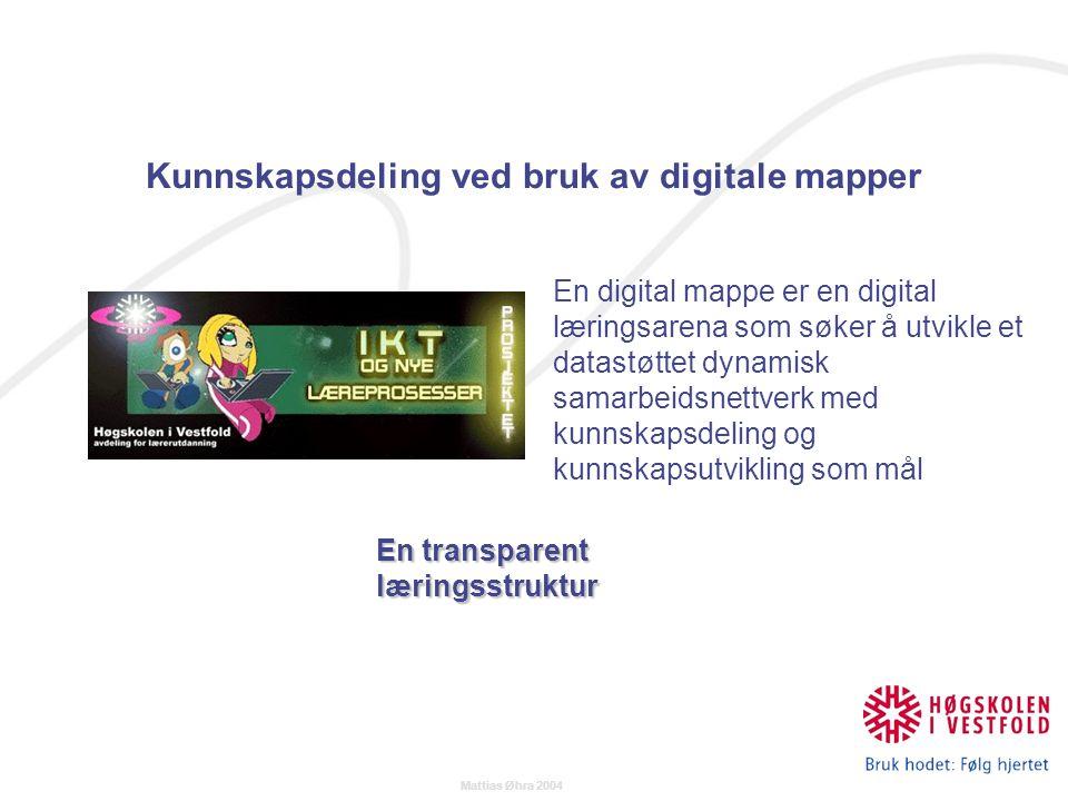 Mattias Øhra 2004 En transparent læringsstruktur En digital mappe er en digital læringsarena som søker å utvikle et datastøttet dynamisk samarbeidsnettverk med kunnskapsdeling og kunnskapsutvikling som mål Kunnskapsdeling ved bruk av digitale mapper