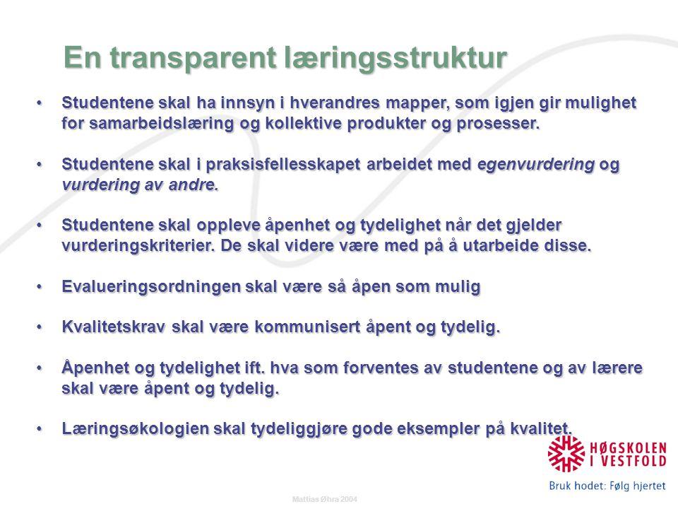 Mattias Øhra 2004 En transparent læringsstruktur Studentene skal ha innsyn i hverandres mapper, som igjen gir mulighet for samarbeidslæring og kollektive produkter og prosesser.Studentene skal ha innsyn i hverandres mapper, som igjen gir mulighet for samarbeidslæring og kollektive produkter og prosesser.