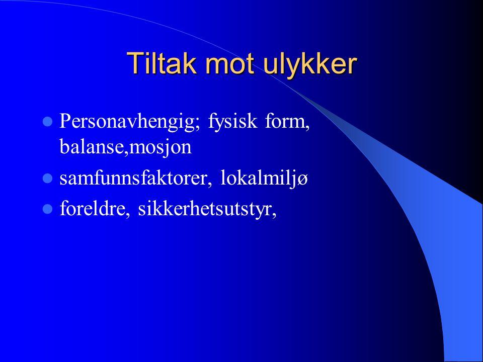 Tiltak mot ulykker Personavhengig; fysisk form, balanse,mosjon samfunnsfaktorer, lokalmiljø foreldre, sikkerhetsutstyr,
