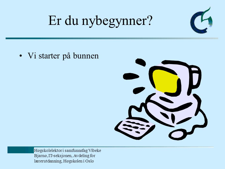 Høgskolelektor i samfunnsfag Vibeke Bjarnø, IT-seksjonen, Avdeling for lærerutdanning, Høgskolen i Oslo Er du nybegynner.