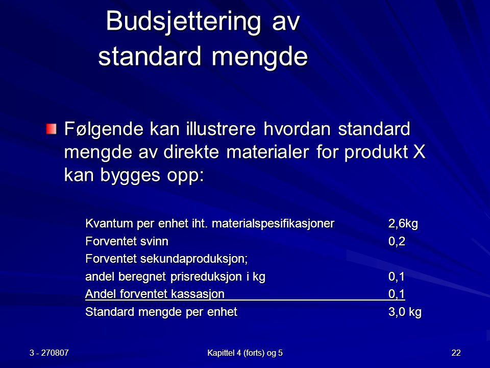 3 - 270807 Kapittel 4 (forts) og 5 22 Budsjettering av standard mengde Følgende kan illustrere hvordan standard mengde av direkte materialer for produ