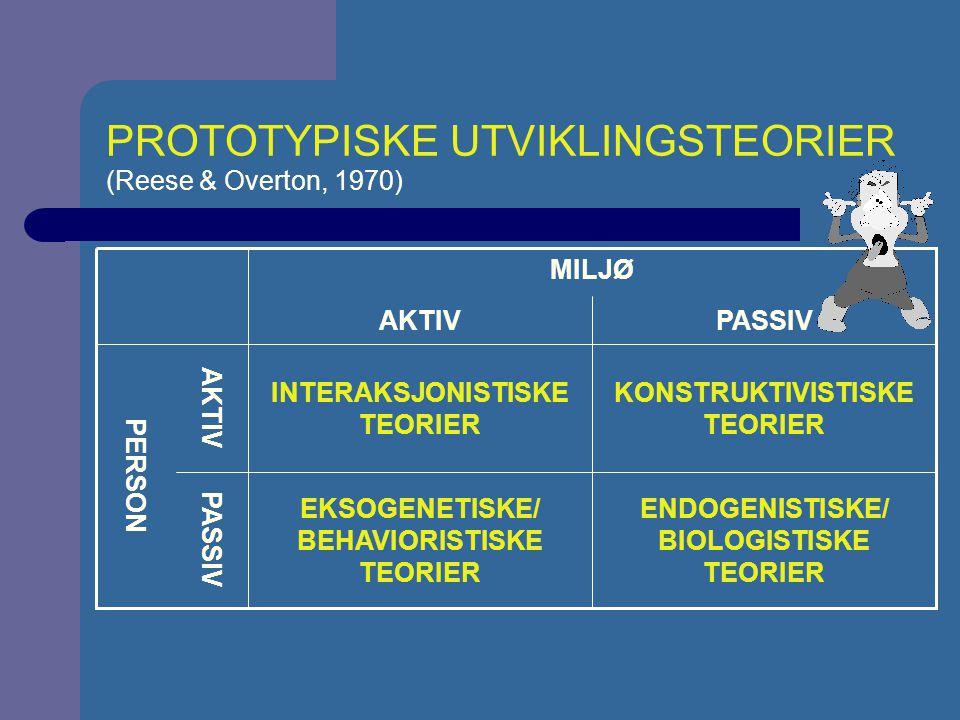 ENDOGENISTISKE OG EKSOGENISTISKE TEORIER Endogenistiske teorier ser på utvikling vesentlig som produkt av genetiske forhold (biologisk arv).