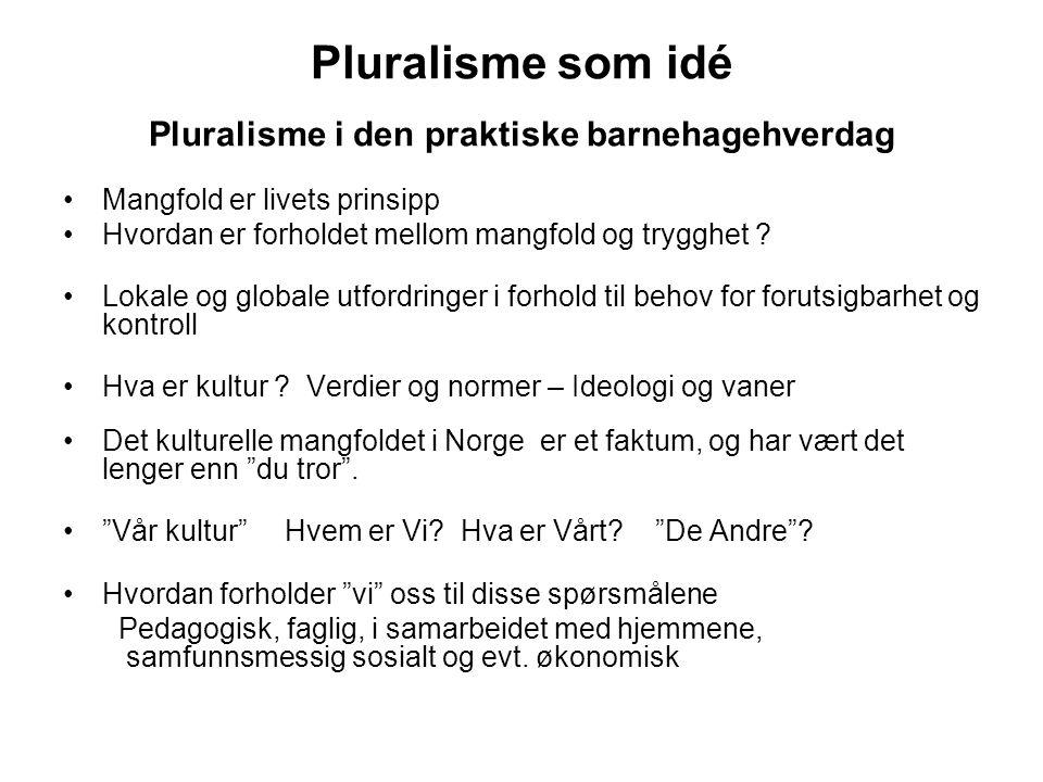 Pluralisme som idé Pluralisme i den praktiske barnehagehverdag Mangfold er livets prinsipp Hvordan er forholdet mellom mangfold og trygghet ? Lokale o