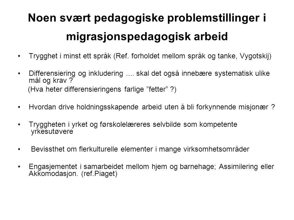 Noen svært pedagogiske problemstillinger i migrasjonspedagogisk arbeid Trygghet i minst ett språk (Ref. forholdet mellom språk og tanke, Vygotskij) Di