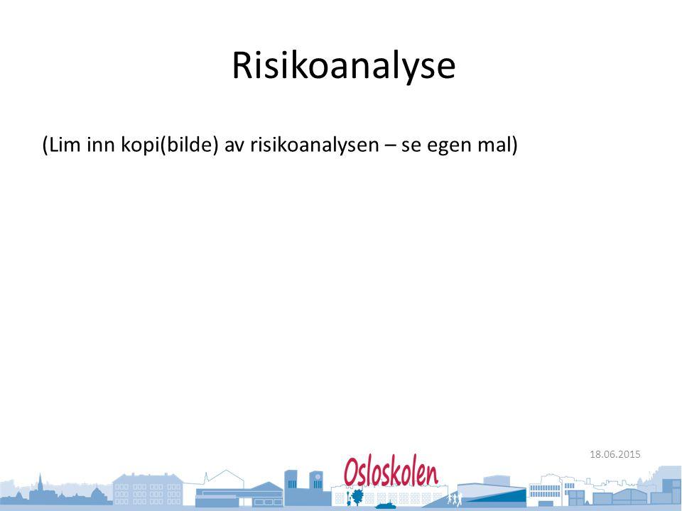Oslo kommune Utdanningsetaten 18.06.2015 Risikoanalyse (Lim inn kopi(bilde) av risikoanalysen – se egen mal)
