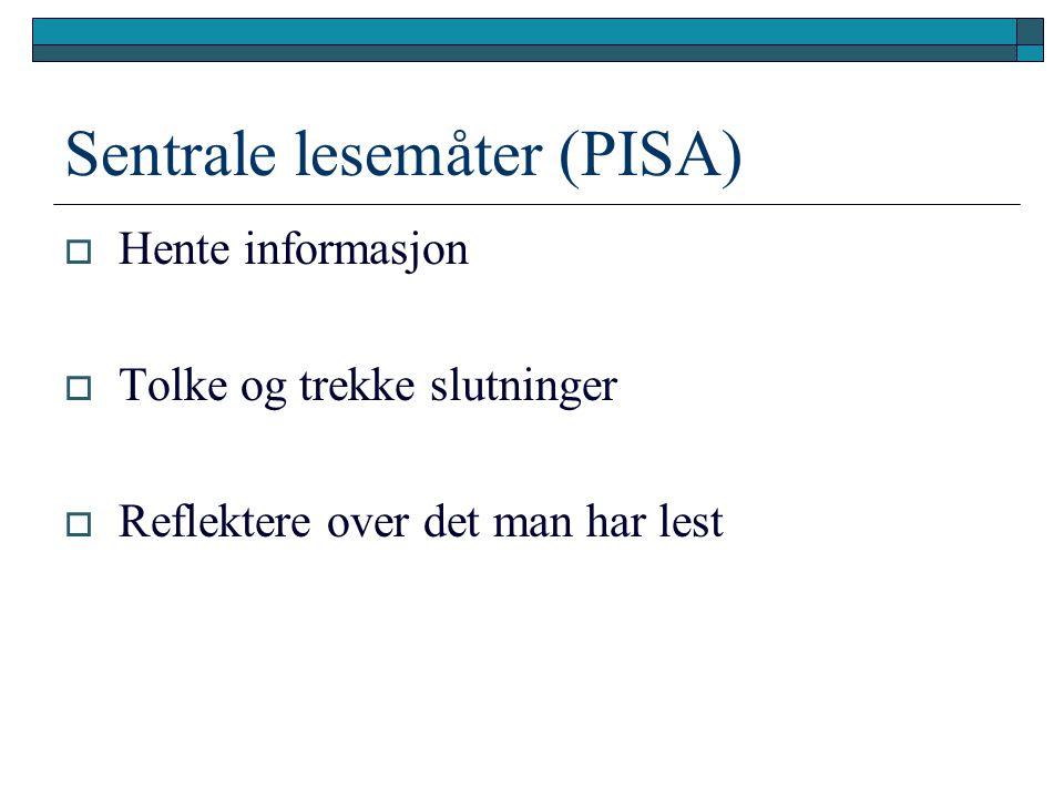 Sentrale lesemåter (PISA)  Hente informasjon  Tolke og trekke slutninger  Reflektere over det man har lest