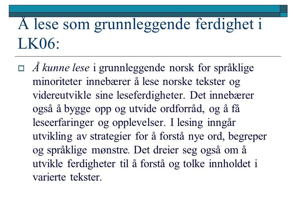 Å lese som grunnleggende ferdighet i LK06:  Å kunne lese i grunnleggende norsk for språklige minoriteter innebærer å lese norske tekster og videreutvikle sine leseferdigheter.