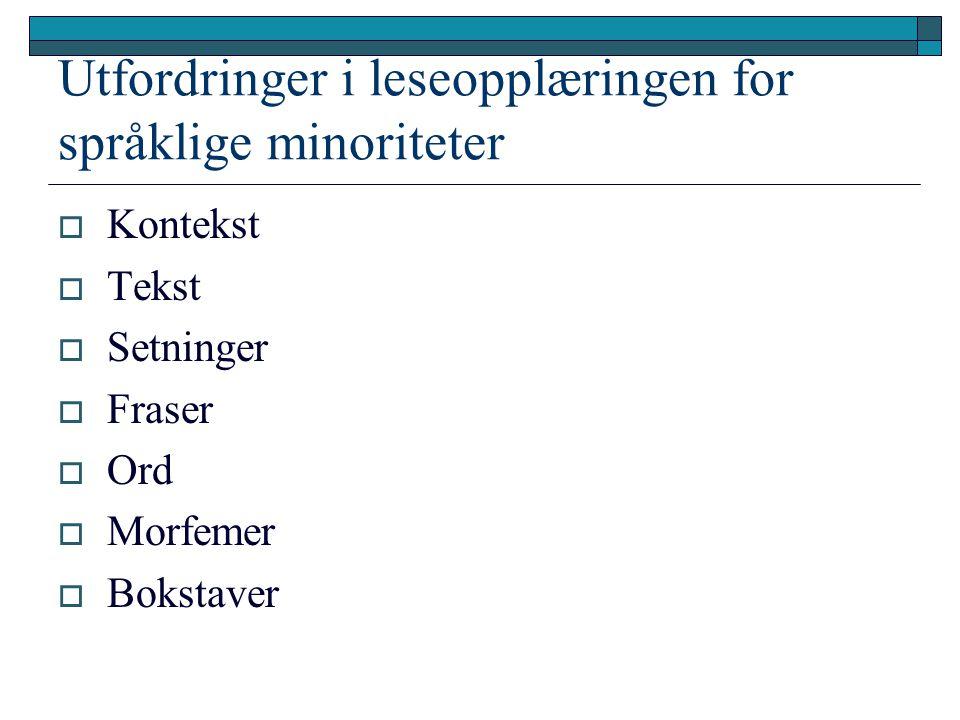 Utfordringer i leseopplæringen for språklige minoriteter  Kontekst  Tekst  Setninger  Fraser  Ord  Morfemer  Bokstaver