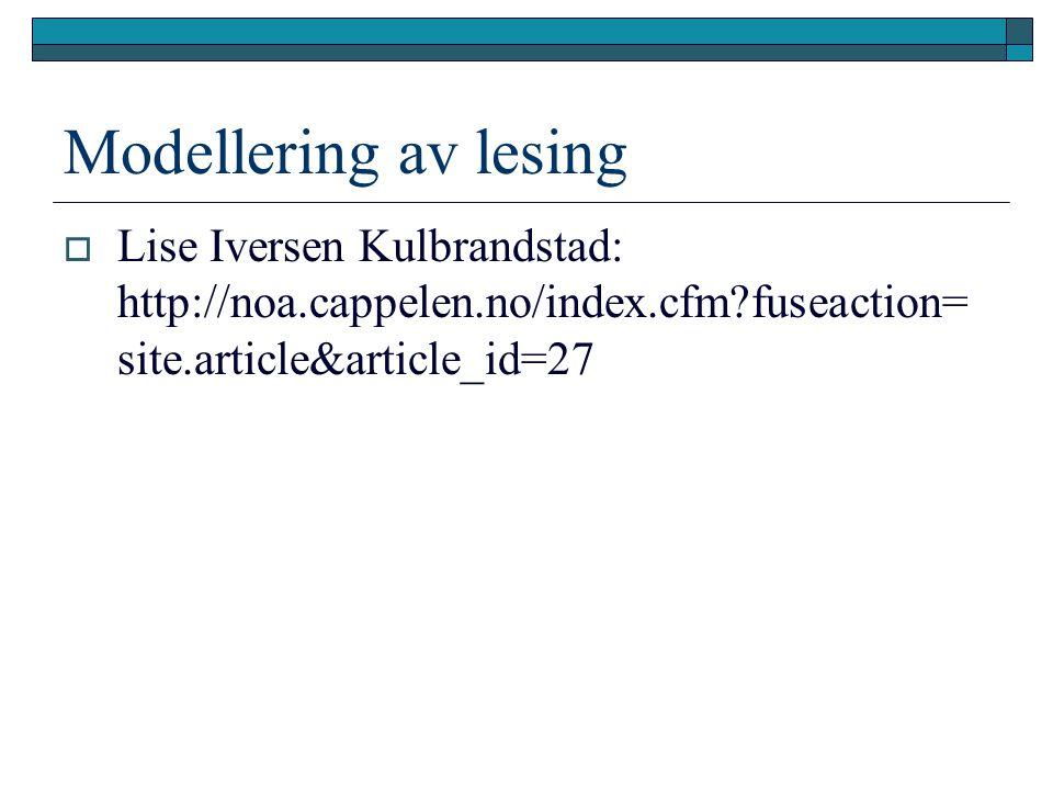 Modellering av lesing  Lise Iversen Kulbrandstad: http://noa.cappelen.no/index.cfm?fuseaction= site.article&article_id=27