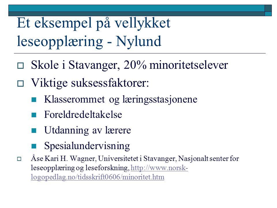 Et eksempel på vellykket leseopplæring - Nylund  Skole i Stavanger, 20% minoritetselever  Viktige suksessfaktorer: Klasserommet og læringsstasjonene Foreldredeltakelse Utdanning av lærere Spesialundervisning  Åse Kari H.