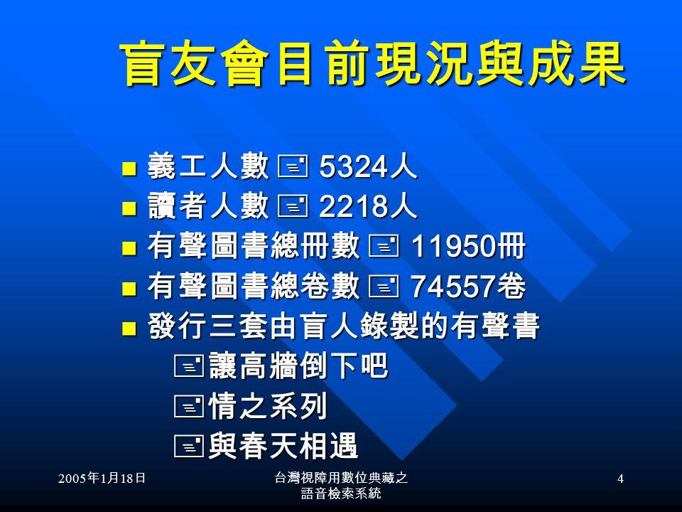 2005 年 1 月 18 日台灣視障用數位典藏之 語音檢索系統 14 清華大學盲友會視障用有聲書 製作與流通之過去現在與未來 製作方式流通方式經費來源 過 去過 去無聲至錄音帶交郵局寄送錄音帶 體積龐大容易毀損 教育部 現 在現 在有聲至數位 無聲至數位 1.