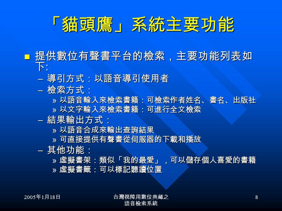 2005 年 1 月 18 日台灣視障用數位典藏之 語音檢索系統 7 數位有聲書平台實際使用現況 登入系統 查詢輸入 選取書目 試聽試聽 下載下載