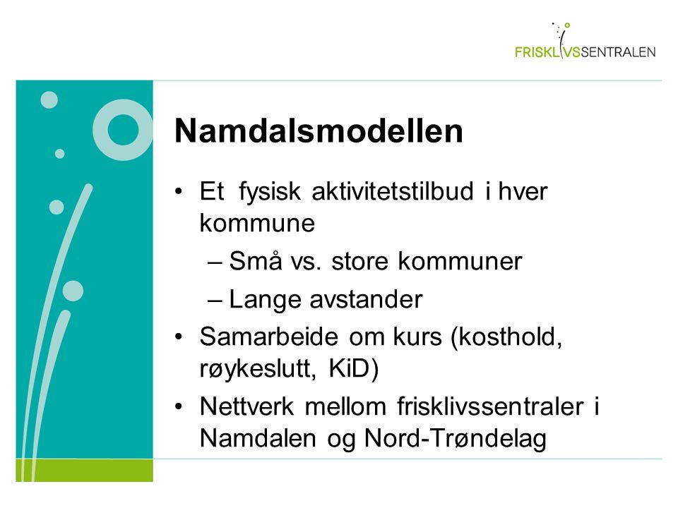 Namdalsmodellen Et fysisk aktivitetstilbud i hver kommune –Små vs.