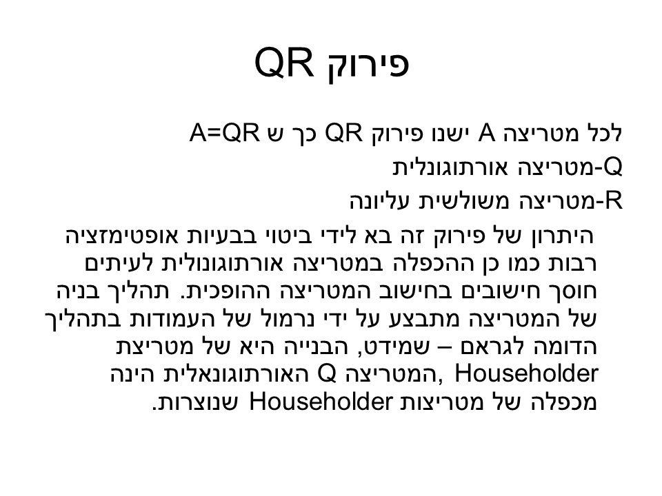 פירוק QR לכל מטריצה A ישנו פירוק QR כך ש A=QR Q-מטריצה אורתוגונלית R-מטריצה משולשית עליונה היתרון של פירוק זה בא לידי ביטוי בבעיות אופטימזציה רבות כמו