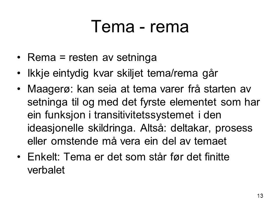 13 Tema - rema Rema = resten av setninga Ikkje eintydig kvar skiljet tema/rema går Maagerø: kan seia at tema varer frå starten av setninga til og med det fyrste elementet som har ein funksjon i transitivitetssystemet i den ideasjonelle skildringa.