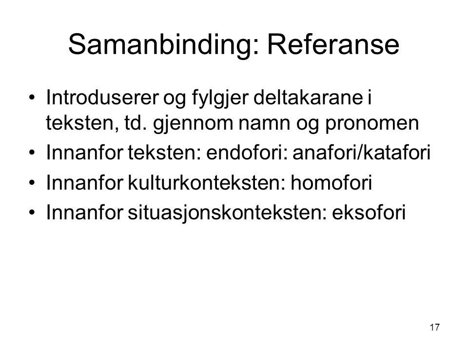 17 Samanbinding: Referanse Introduserer og fylgjer deltakarane i teksten, td.