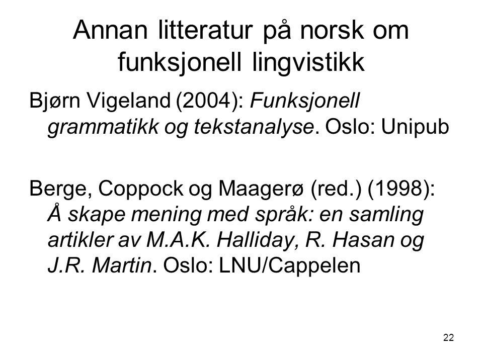 22 Annan litteratur på norsk om funksjonell lingvistikk Bjørn Vigeland (2004): Funksjonell grammatikk og tekstanalyse.