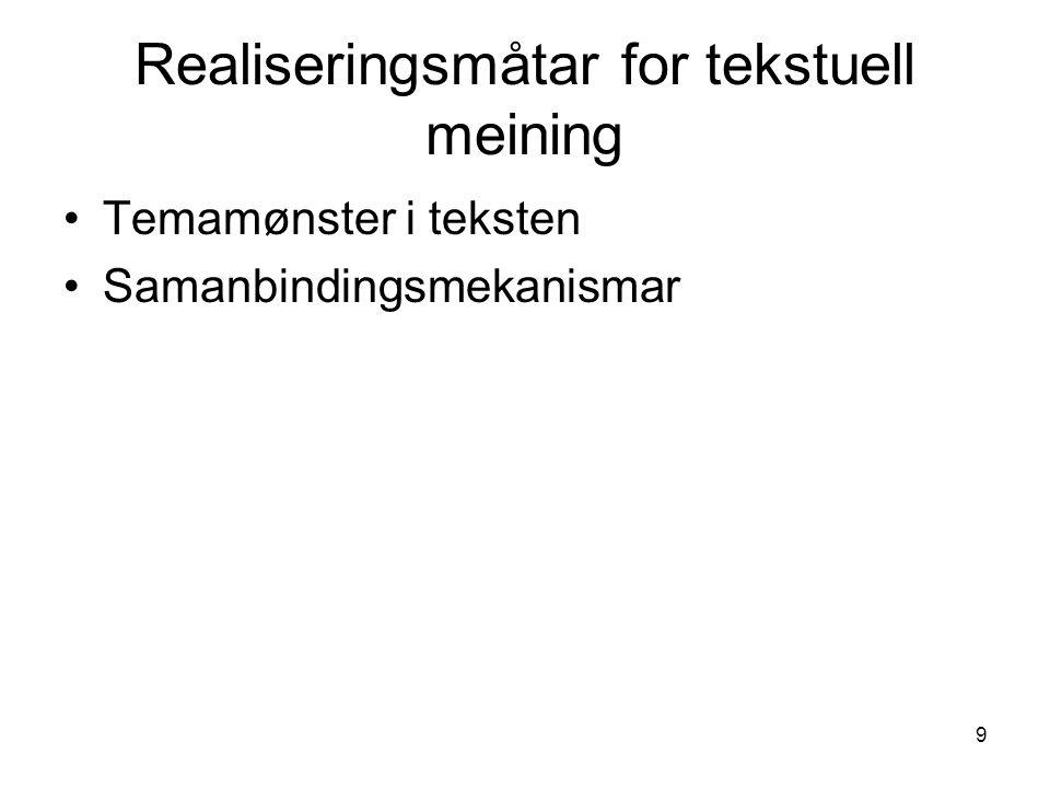 9 Realiseringsmåtar for tekstuell meining Temamønster i teksten Samanbindingsmekanismar