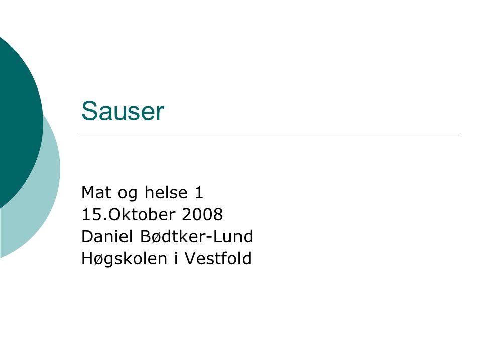 MH1 - Daniel Bødtker-Lund Høgskolen i Vestfold Tomatsaus  60 g smør, 60 gr hakkete grønnsaker (løk, purre, gulrot, selleri), litt bacon, tomatpure, 50 g hvetemel og 1 liter lys kraft/buljong.
