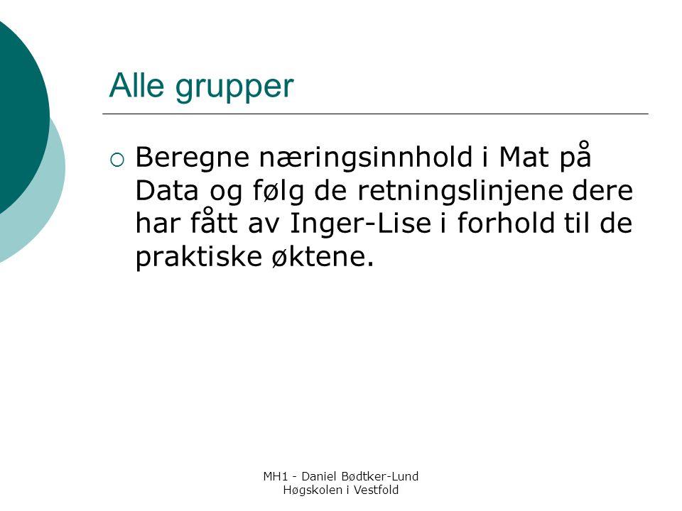 MH1 - Daniel Bødtker-Lund Høgskolen i Vestfold Alle grupper  Beregne næringsinnhold i Mat på Data og følg de retningslinjene dere har fått av Inger-Lise i forhold til de praktiske øktene.