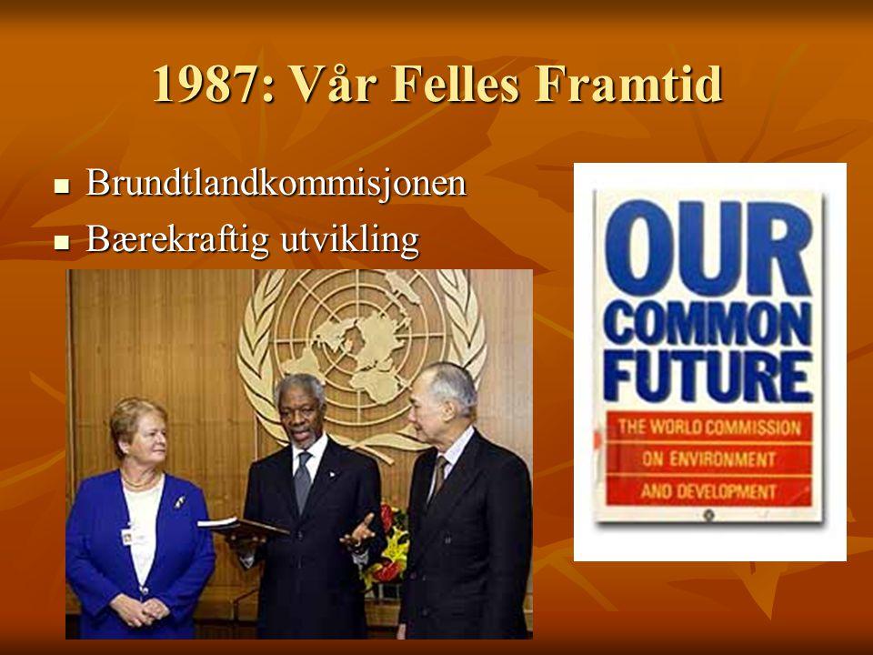 1987: Vår Felles Framtid Brundtlandkommisjonen Brundtlandkommisjonen Bærekraftig utvikling Bærekraftig utvikling