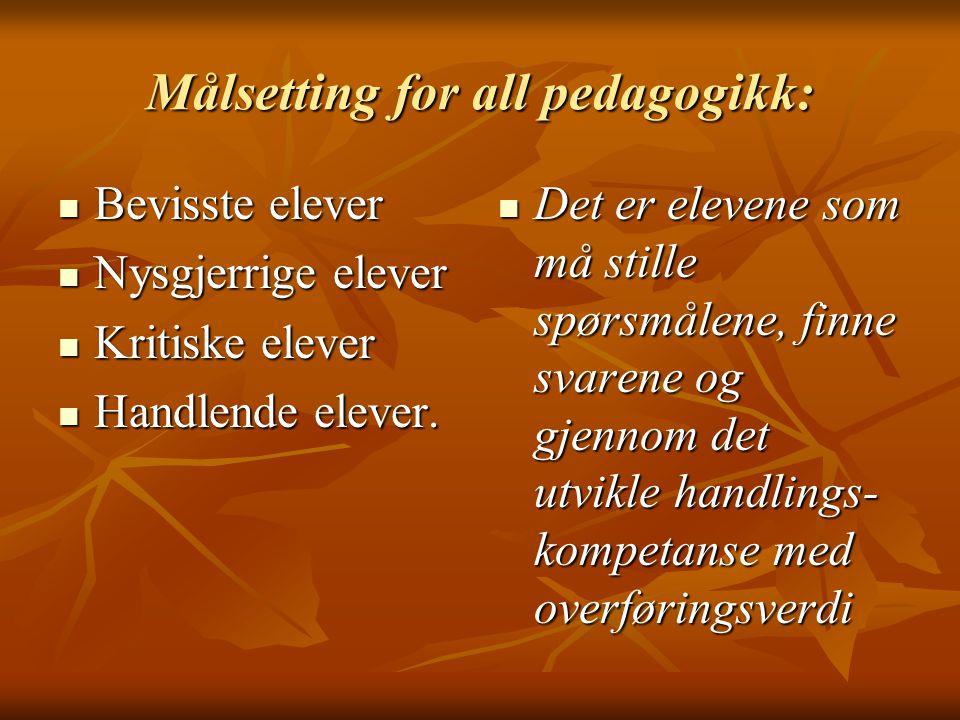 Målsetting for all pedagogikk: Bevisste elever Bevisste elever Nysgjerrige elever Nysgjerrige elever Kritiske elever Kritiske elever Handlende elever.