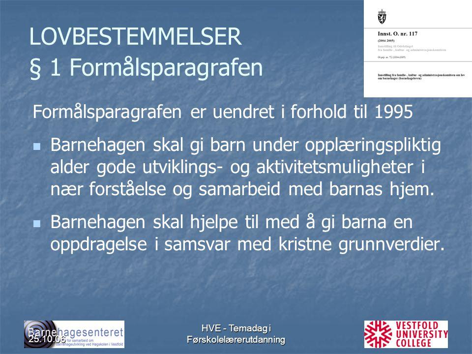 25.10.06 HVE - Temadag i Førskolelærerutdanning LOVBESTEMMELSER § 1 Formålsparagrafen Formålsparagrafen er uendret i forhold til 1995 Barnehagen skal