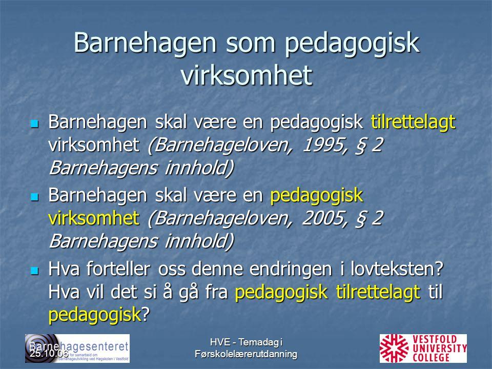 25.10.06 HVE - Temadag i Førskolelærerutdanning Barnehagen som pedagogisk virksomhet Barnehagen skal være en pedagogisk tilrettelagt virksomhet (Barne