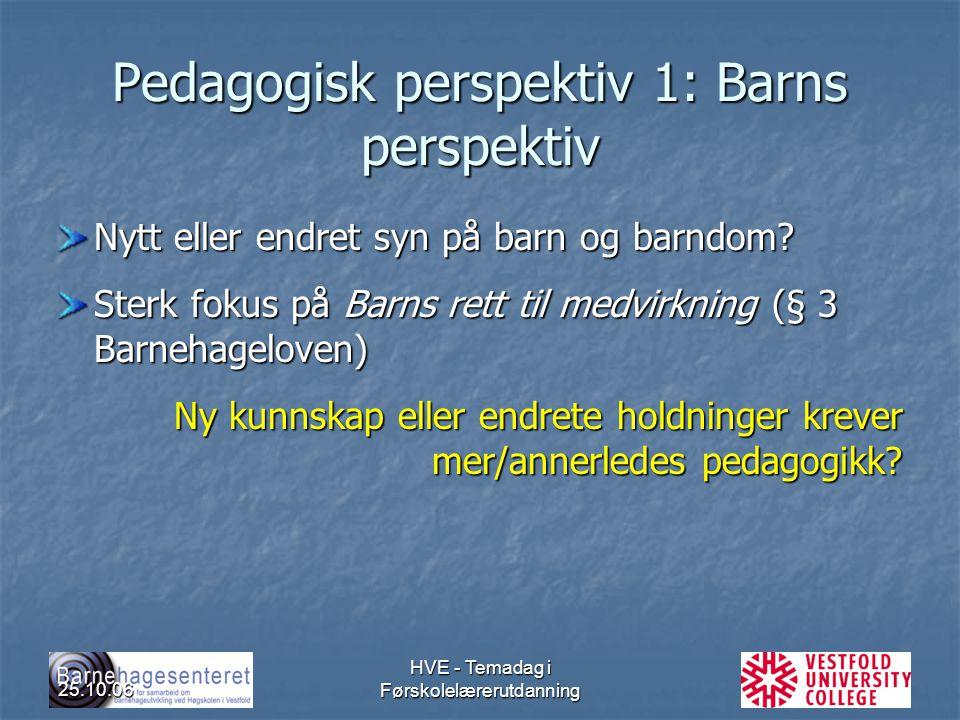 25.10.06 HVE - Temadag i Førskolelærerutdanning Pedagogisk perspektiv 1: Barns perspektiv Nytt eller endret syn på barn og barndom? Sterk fokus på Bar