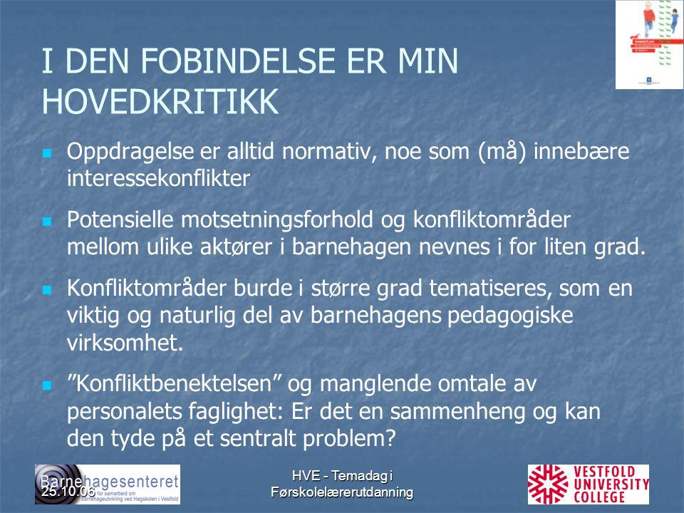 25.10.06 HVE - Temadag i Førskolelærerutdanning I DEN FOBINDELSE ER MIN HOVEDKRITIKK Oppdragelse er alltid normativ, noe som (må) innebære interesseko