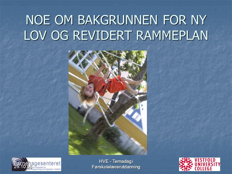 25.10.06 HVE - Temadag i Førskolelærerutdanning NOE OM BAKGRUNNEN FOR NY LOV OG REVIDERT RAMMEPLAN