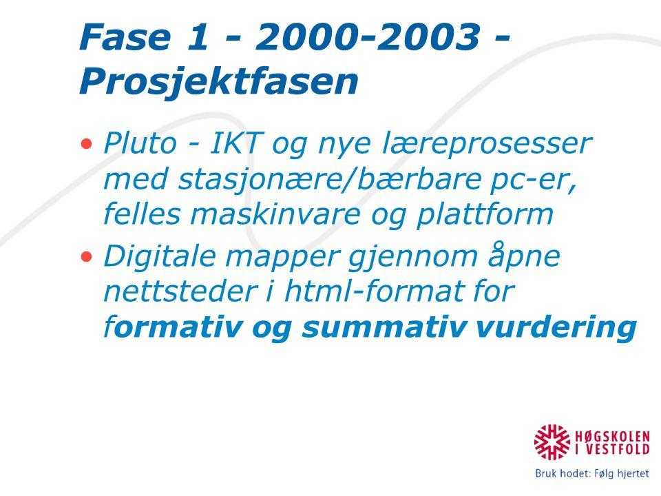 Fase 1 - 2000-2003 - Prosjektfasen Pluto - IKT og nye læreprosesser med stasjonære/bærbare pc-er, felles maskinvare og plattform Digitale mapper gjennom åpne nettsteder i html-format for formativ og summativ vurdering