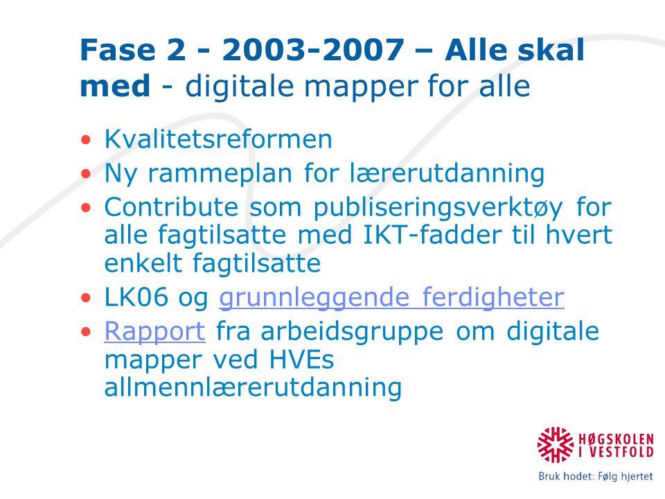 Fase 2 - 2003-2007 – Alle skal med - digitale mapper for alle Kvalitetsreformen Ny rammeplan for lærerutdanning Contribute som publiseringsverktøy for