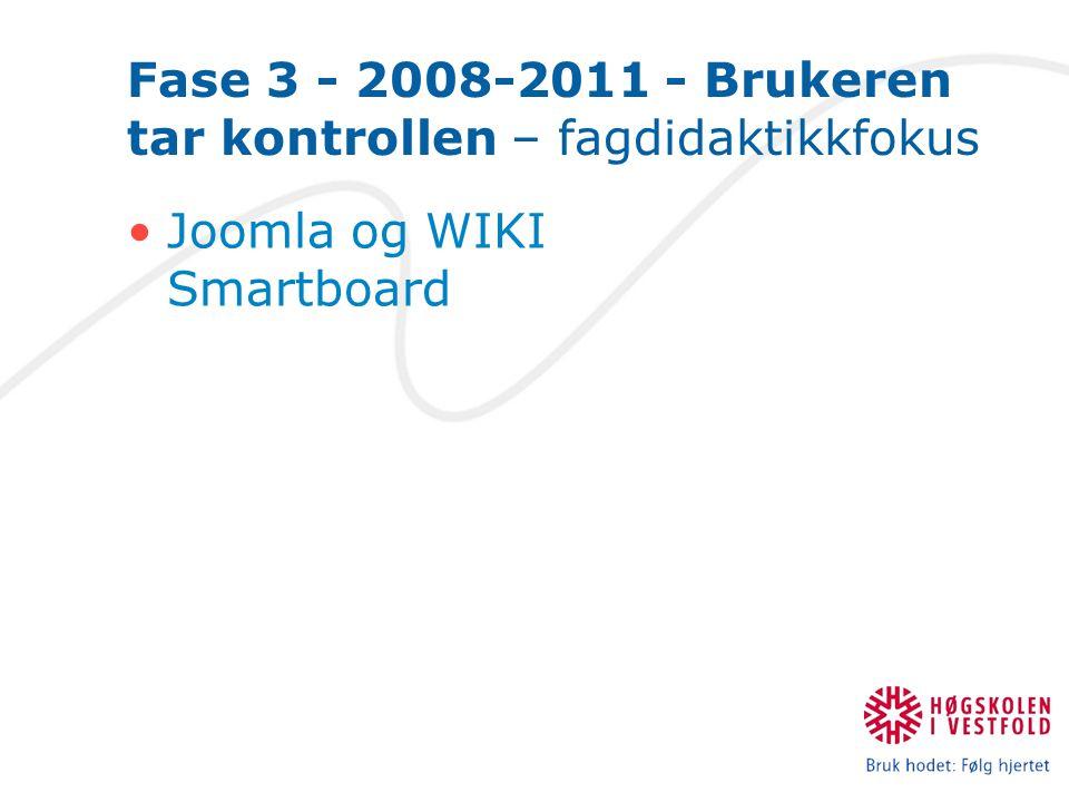 Fase 3 - 2008-2011 - Brukeren tar kontrollen – fagdidaktikkfokus Joomla og WIKI Smartboard